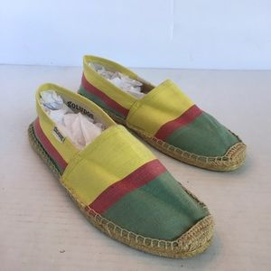 Soludos Yellow Green Red Striped Espadrilles